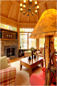 interior log cabin paneling